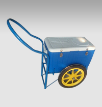 Ice cream hand push cart with cooling box